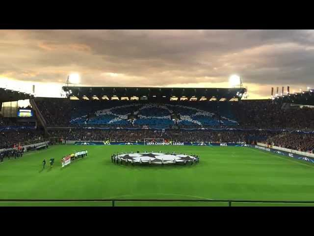 UEFA Champions League Play-Off Round: Club Brugge - Manchester United (Tifo Blue Army + CL hymne)