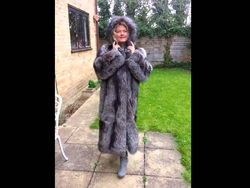db0d44468e Silver Fox Fur Coat With Fur Lined Hood! - Full Length - YouTube