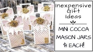 $1 GIFT IDEA!! | TUTORIAL AND PACKAGING | FREE SVG FILE!! | MINI COCOA MASON JARS