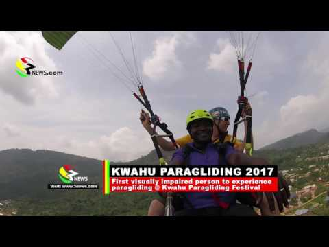 The first Ghanaian visually impaired person to participate in Kwahu Paragliding Festival