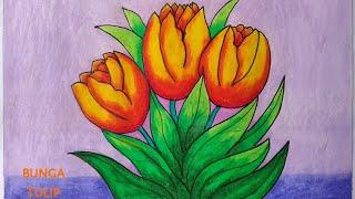 Menggambar Bunga Tulip Cara Menggambar Dan Mewarnai Untuk Pemula Youtube