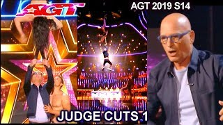 Duo Togni Aerialists HAD HOWIE HANGING FROM HER TEETH | America's Got Talent 2019 Judge Cuts