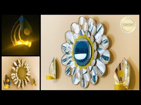 DIY Unique Wall Decoration with Mirror and Lights| gadac diy|home decorating ideas|craft ideas|decor