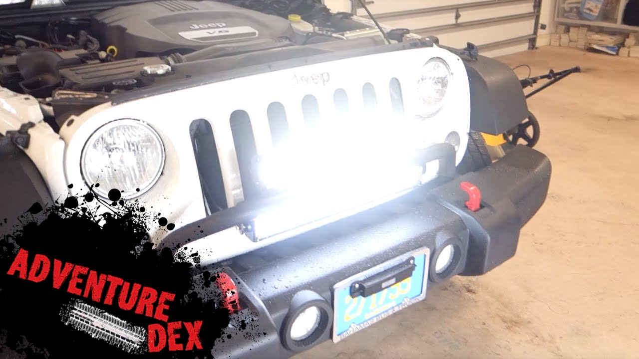 jeep wrangler 20inch led light bar installation by auxbeam