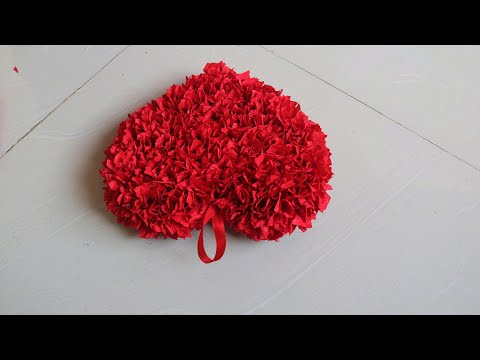 How to Make Crepe Paper Puffy Heart/ Valentine's Window Deco