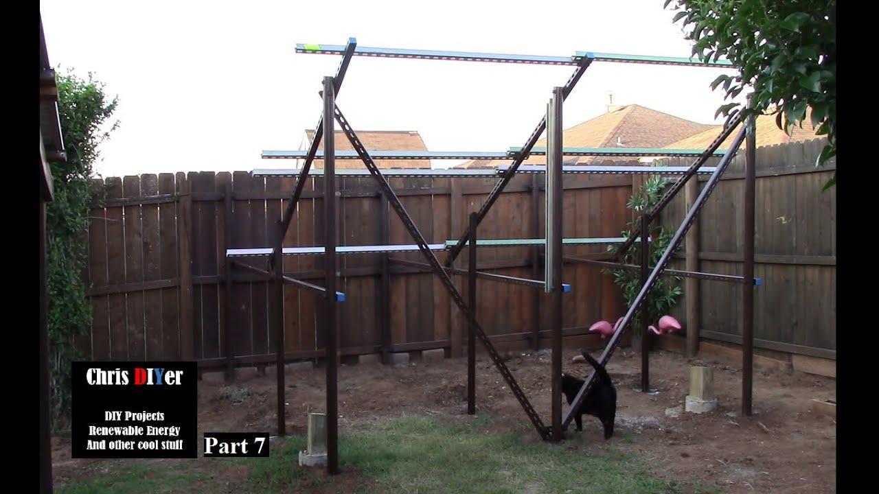part 7 racking done suburbia backyard corner solar panel