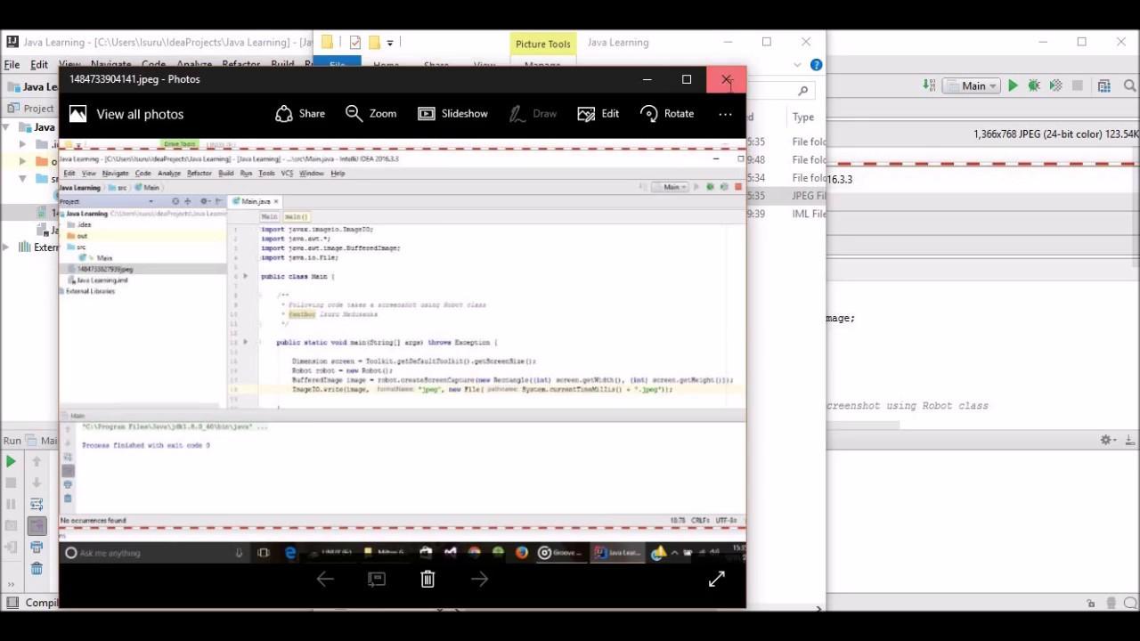 Take screenshot using Java