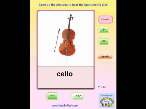 Audio Flashcards for Preschoolers - Musical Instruments  (Hear each  instrument play)