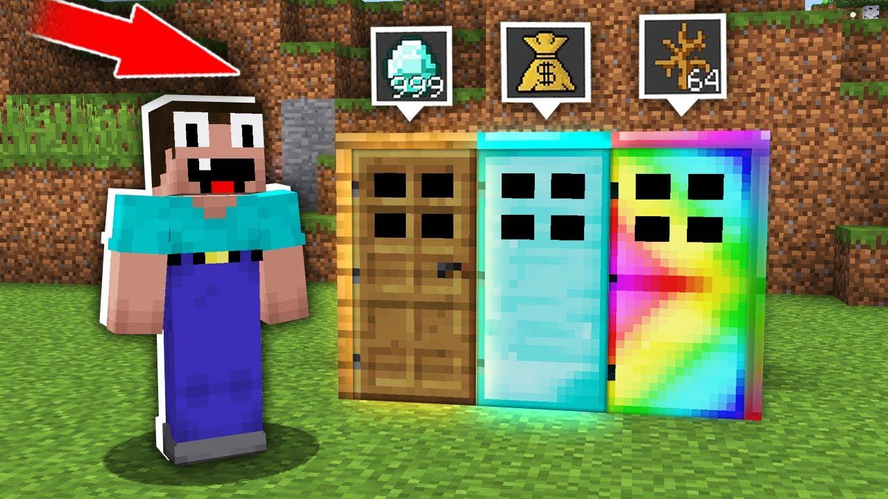 Minecraft NOOB vs PRO: CAN NOOB CHOOSE RIGHT SECRET DOOR TO GET ULTRA TREASURE? trolling