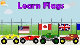 Monster Truck Videos - Learn Country Flags For Kids, Educational Video, Flag Song