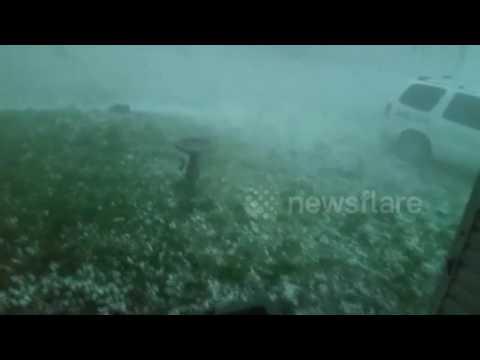 Extremely heavy hailstorm in North Dakota