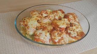 Кабачки запеченные в духовке с куриным филе помидорами и сыром