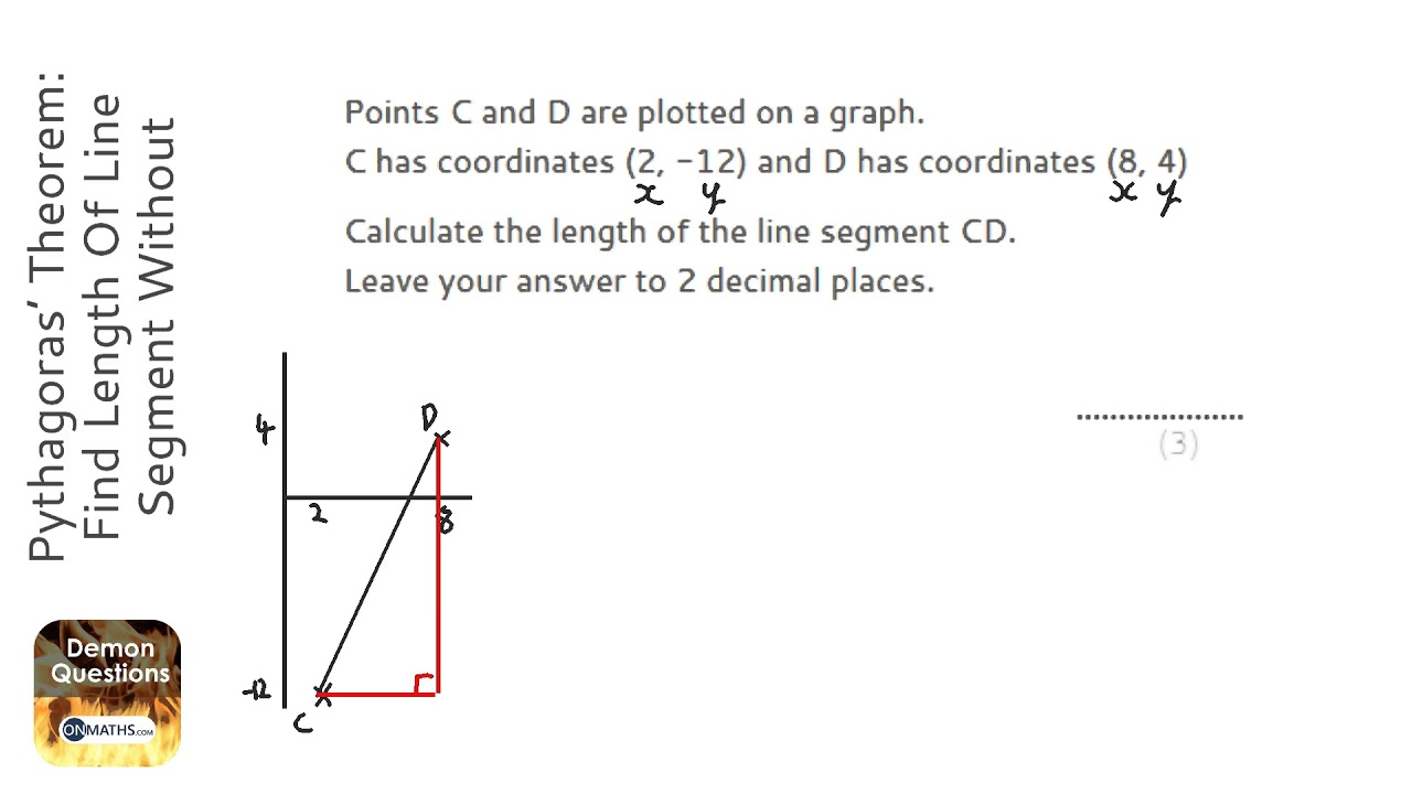Pythagoras Theorem Find Length Of Line Segment Without Graph Grade 4 Gcse Maths Revision Youtube