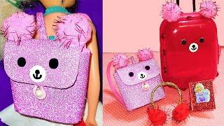 4 DIY Miniature Barbie Hacks and Crafts: Bear Backpack, Book, Suitcase and Earmuffs