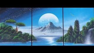Spray paint art - Nature with mountain - made by street artist