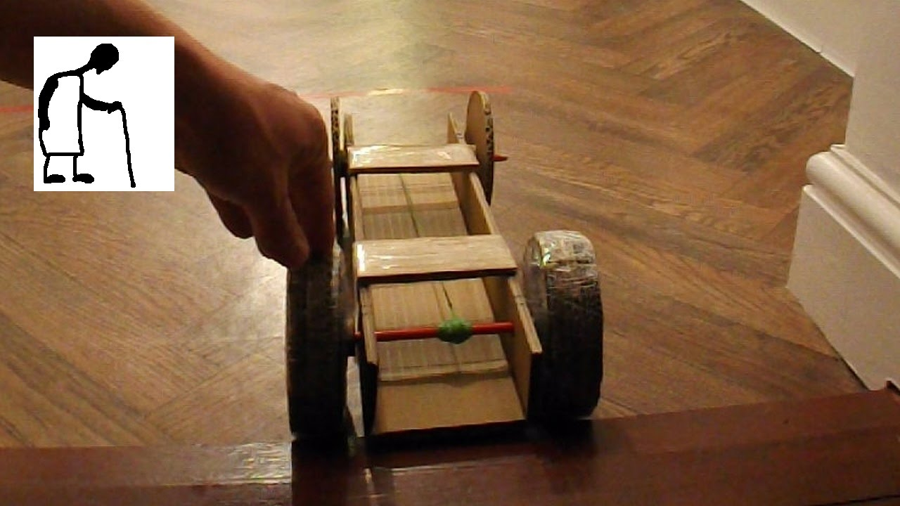 Rubber Band Powered Cardboard Car Youtube
