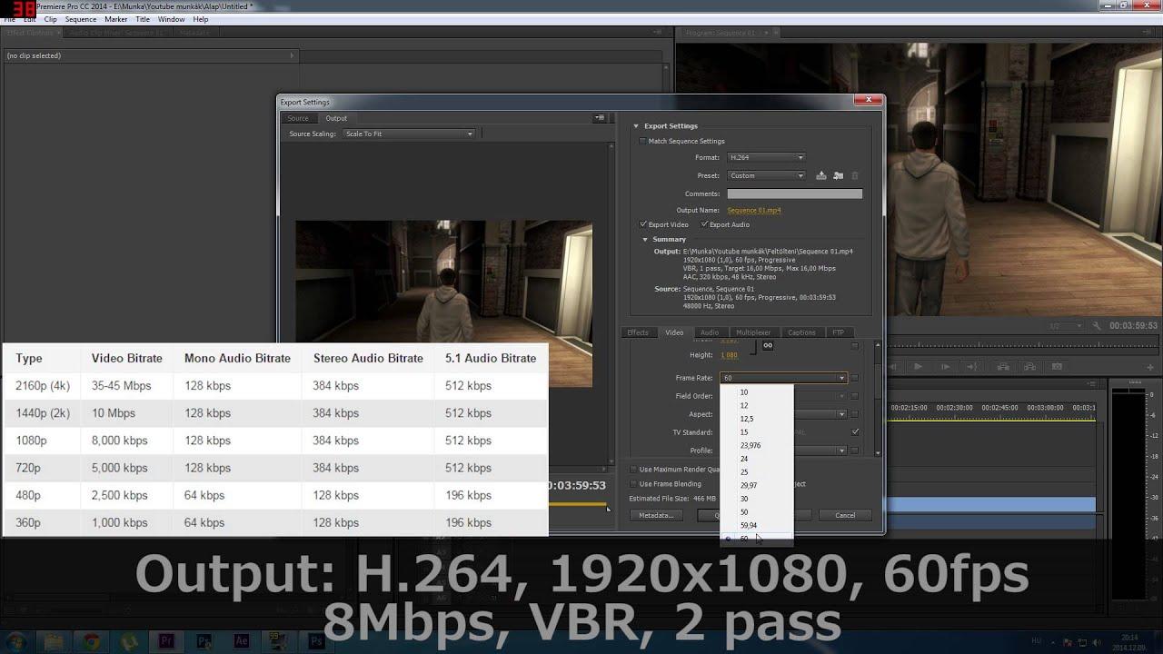 best premiere pro render settings for youtube 60fps 1080p