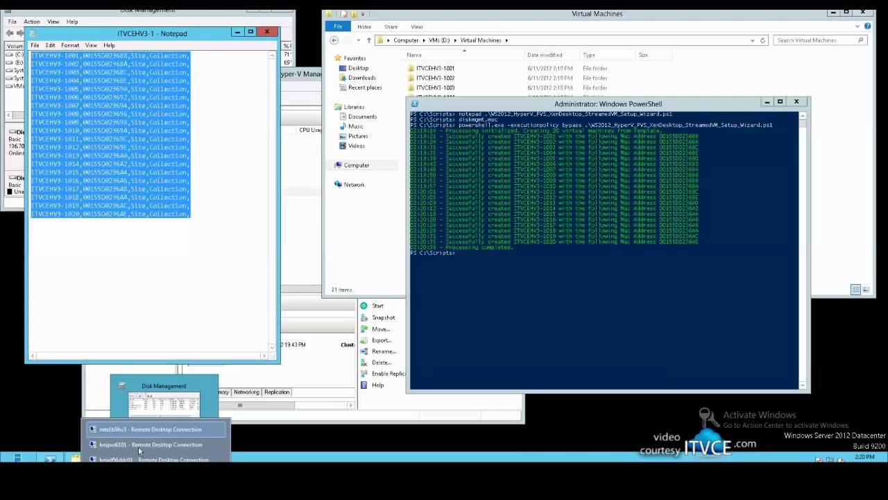 Creating PVS & XenDesktop Virtual Desktops on Windows Server 2012 Hyper-V  using PowerShell