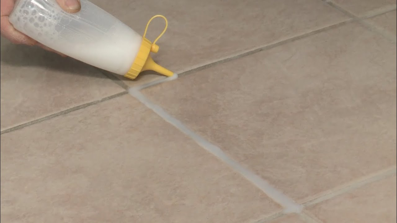 Quick fix whiten floor tile grout youtube for How to make grout white again