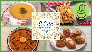 Ramazan 9. Gün İftar Menüsü: Patlıcan Kızartması - Fasulye Çorbası - İçli Köfte - Şekerpare Tatlısı