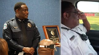 Officer Andre Jenkins fought back tears during his final patrol shi...
