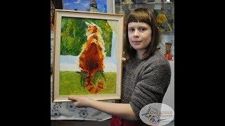 """Картина маслом на холсте """"Рыжий кот на окне"""". Уроки живописи для детей спб"""