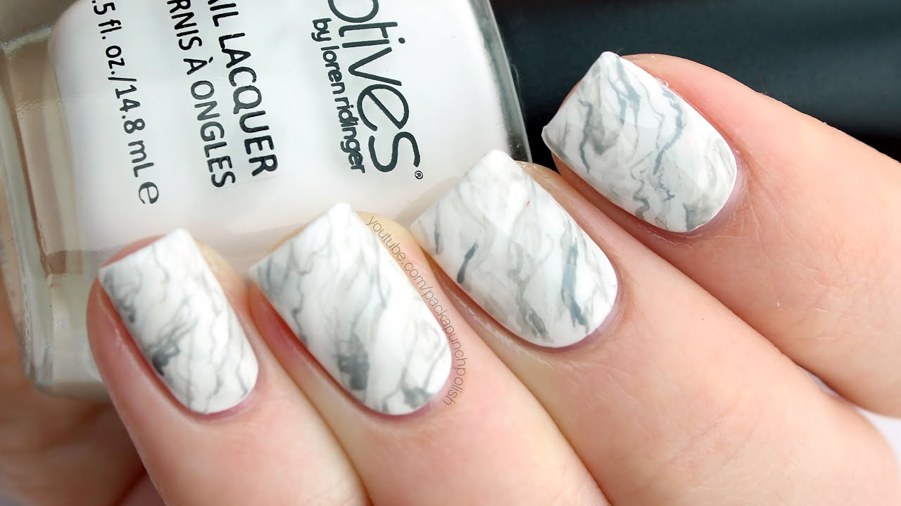 White Marble Nail Art Tutorial - YouTube