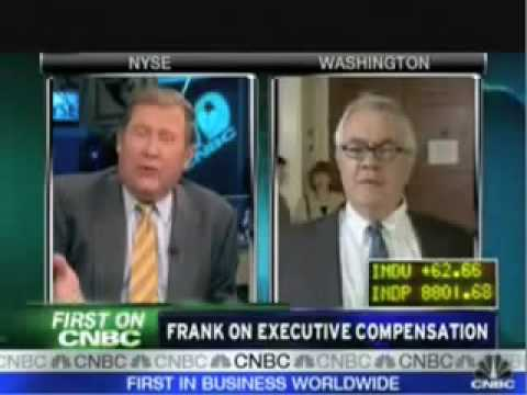 """Barney Frank tells CNBC's Mark Haines""""This Interview is Over""""."""