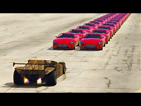 GTA 5 - CAN A RAMP CAR FLIP 100+ VEHICLES IN A ROW?