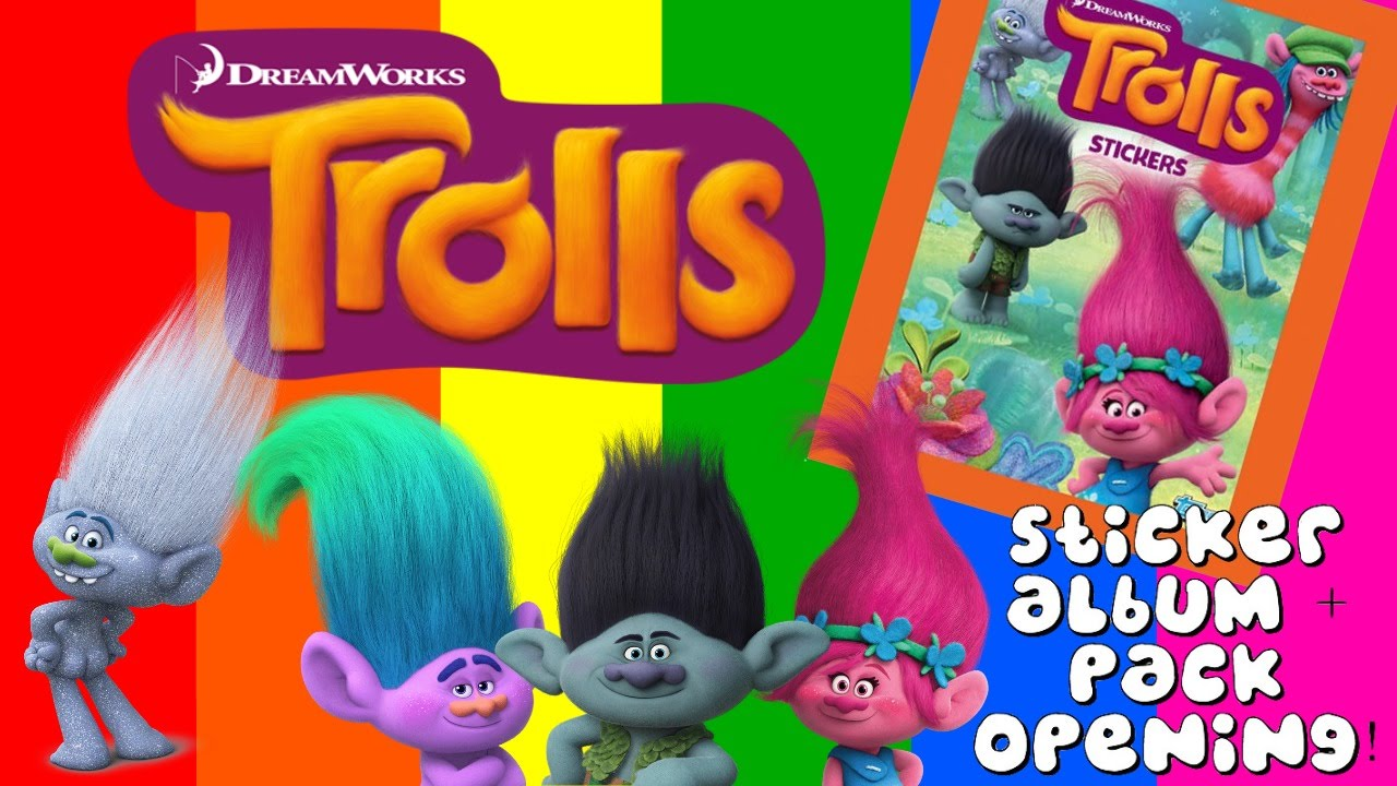 BRAND NEW Trolls Sticker Album & 12 Sticker Packs Opening ...