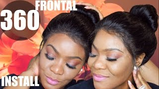 360 Lace frontal Install | Sew in & Got2B Gel | Comingbuy
