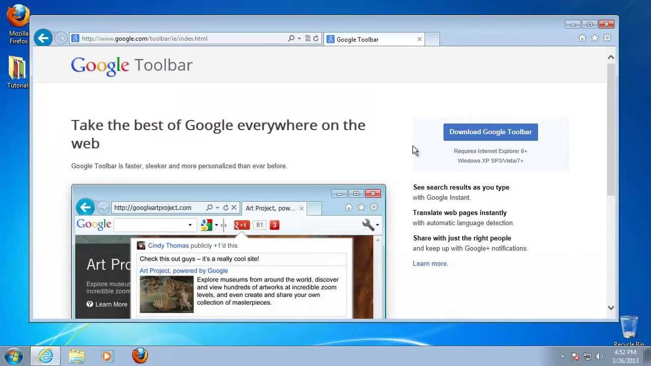 How to Install a Google Toolbar for Windows 7