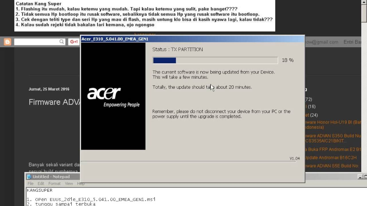 How to flash Acer