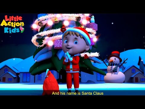 He Has a Red Red Coat | Kids Christmas Song about Santa Claus with Lyrics  | Little Action Kids