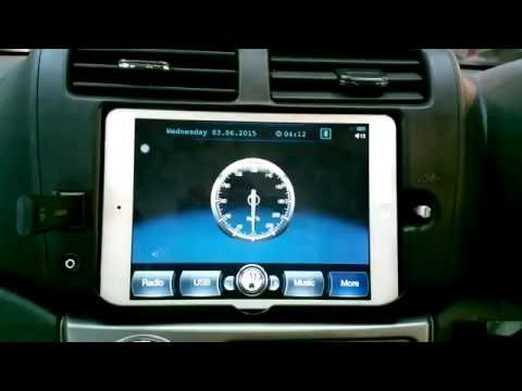 iPad mini in car dash. i-Mtab app function + reverse camera