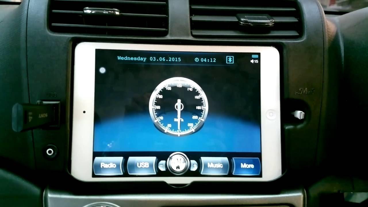 iPad mini in car dash  i-Mtab app function + reverse camera