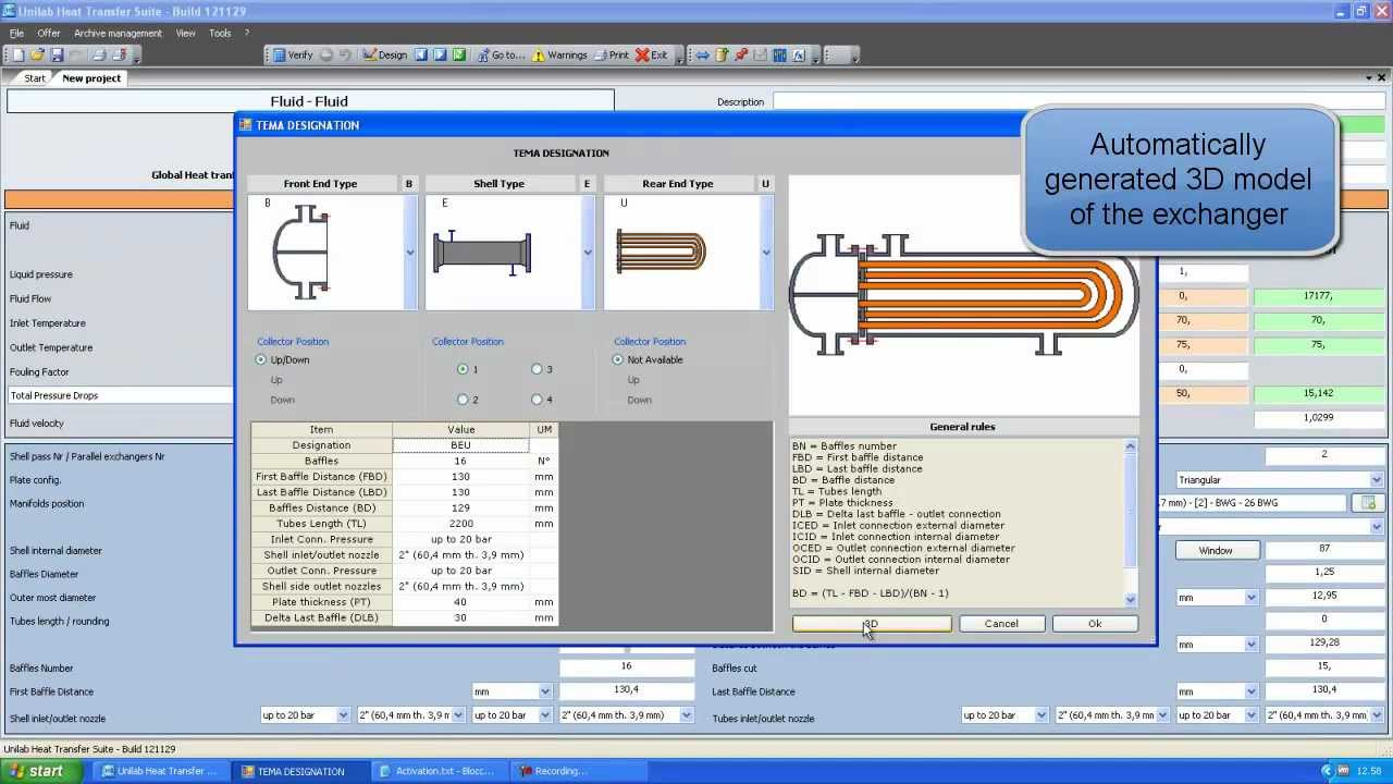 UNILAB SHELL - Shell & Tube Heat Exchanger Modeling and Thermodynamic Design