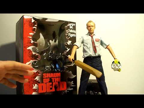 "NECA SHAUN OF THE DEAD 12"" INCH ELECTRONIC MOVIE ACTION FIGURE TOY REVIEW"
