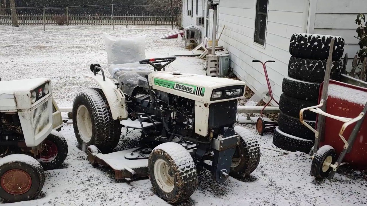 Snowy Cold Start of the Bolens Iseki H1502 Diesel Tractor