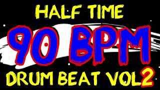 90 BPM - Half Time Drum Beat Rock 2 - 4/4 Drum Track - Metronome - Drum Beat
