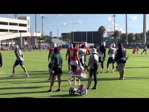 Miami Hurricanes practice August 6, 2021- passing game drills