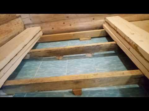 Простое устройство лаг на разуклонке в бане, мой проливной пол