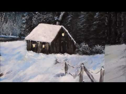 How to Paint a Winter Cabin Lesson 2 with acrylic paint, Cabin, Lake, fir trees., snow, step by step