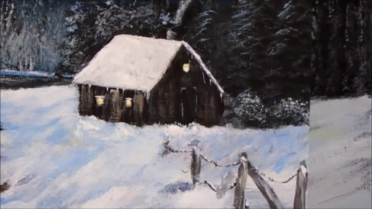 How To Paint A Winter Cabin Lesson 2 With Acrylic Lake Fir Trees Snow Step By