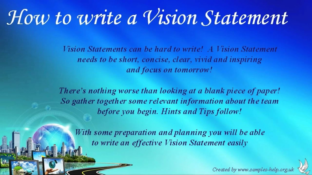How To Write Team Vision Statements Youtube