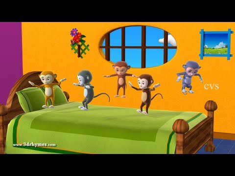 Thumbnail: Five Little Monkeys Jumping on the bed - 3D Animation English Nursery rhyme for children