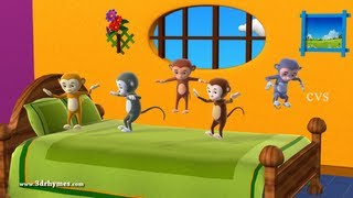 Five Little Monkeys Jumping on the bed - 3D Animation English Nursery rhyme for children thumbnail