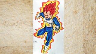 Drawing VEGETA SUPER SAYAJIN GOD RED