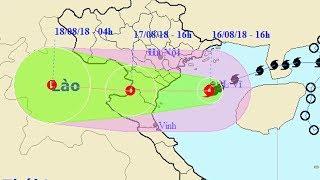 Từ đêm 16-8-2018, bão số 4 giật cấp 11 sẽ ảnh hưởng trực tiếp đến các tỉnh từ Quảng Bình đến Nghệ An