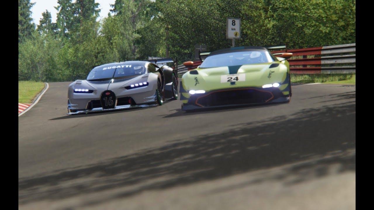 Bugatti Vision Gt Vs Aston Martin Vulcan Amr Pro 18 At Nordschleife Youtube